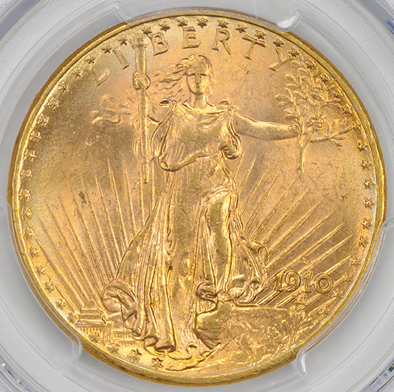 Picture of 1910-D ST. GAUDENS $20 MS65