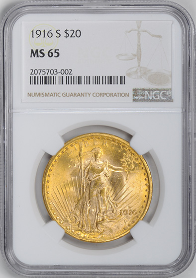 Picture of 1916-S ST. GAUDENS $20 MS65