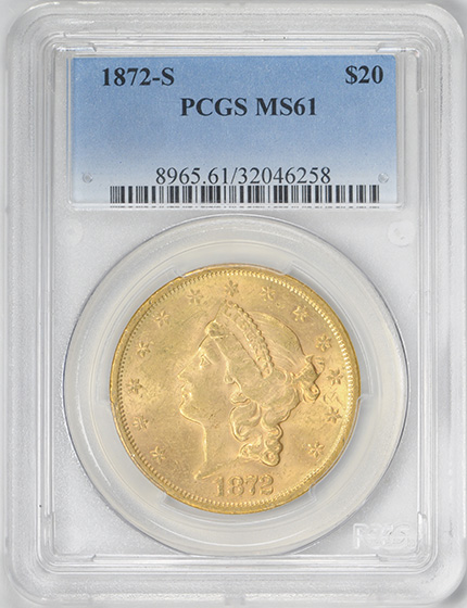 Picture of 1872-S LIBERTY HEAD $20 MS61