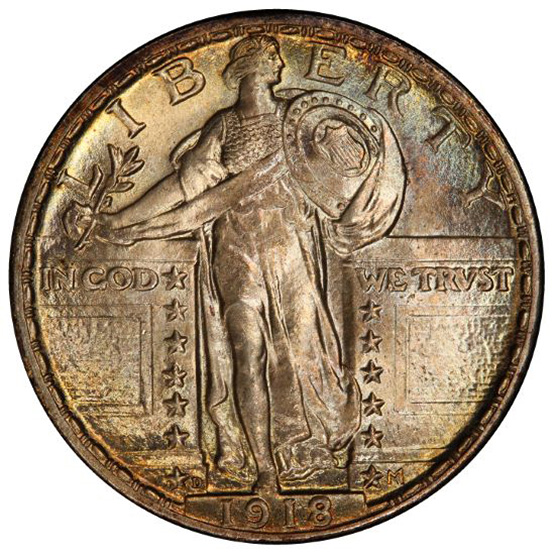 Picture of 1918-D STANDING LIBERTY 25C MS66+ Full Head
