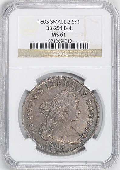 Picture of 1803 DRAPED BUST $1, SMALL 3 MS61