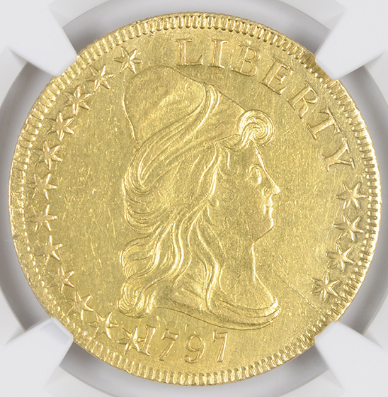 Picture of 1797 DRAPED BUST $10, SMALL EAGLE AU58