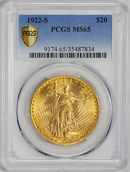 Picture of 1922-S ST. GAUDENS $20 MS65+