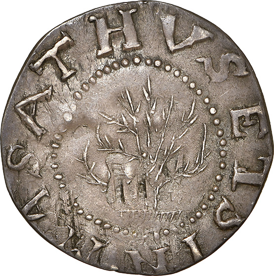 Picture of 1652 OAK TREE SHILLING, OAK TREE, IN AT BOTTOM MS63