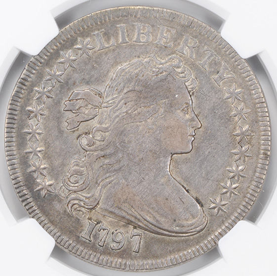 Picture of 1797 DRAPED BUST $1, 9X7 LARGE LETTERS AU55