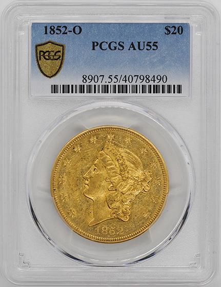 Picture of 1852-O LIBERTY HEAD $20 AU55