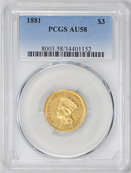 Picture of 1881 INDIAN PRINCESS $3 AU58