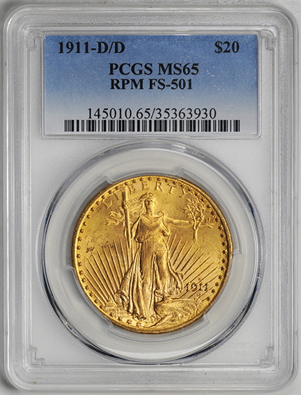 Picture of 1911-D/D ST. GAUDENS $20 MS65