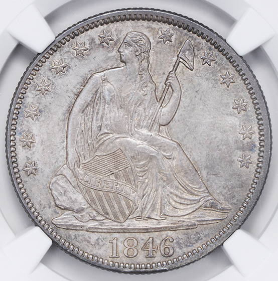 Picture of 1846 LIBERTY SEATED 50C, TALL DATE MS65+