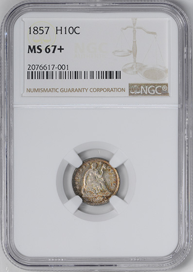 Picture of 1857 LIBERTY SEATED H10C MS67+