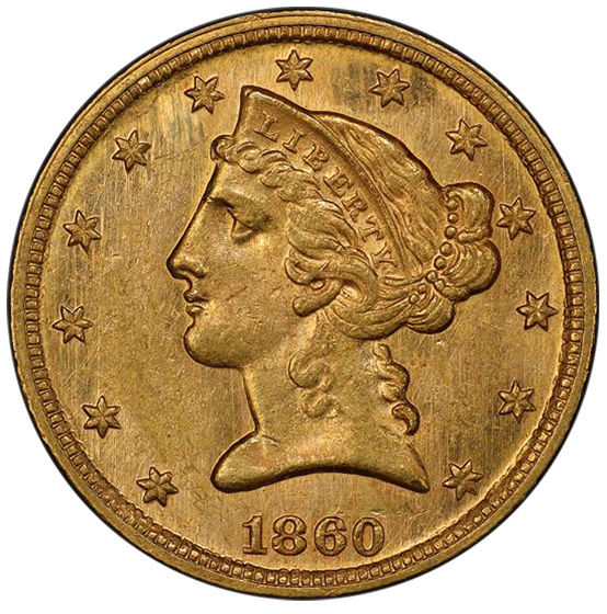 Picture of 1860-C LIBERTY $5 MS63+