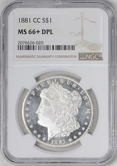 Picture of 1881-CC MORGAN S$1 MS66+ DMPL