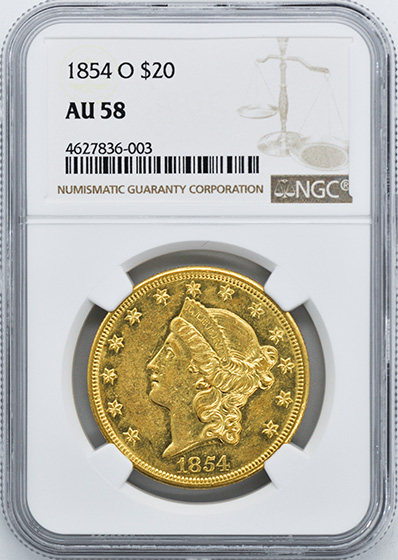 Picture of 1854-O LIBERTY HEAD $20 AU58