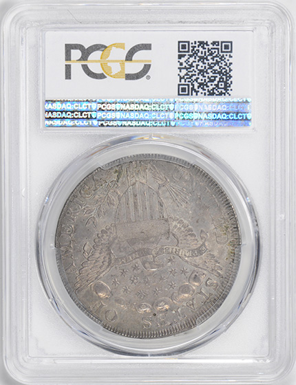 Picture of 1798 DRAPED BUST $1, POINTED 9, 4 VERTICAL LINES AU53