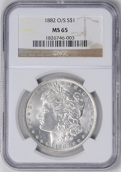 Picture of 1882-O/S MORGAN S$1, STRONG MS65