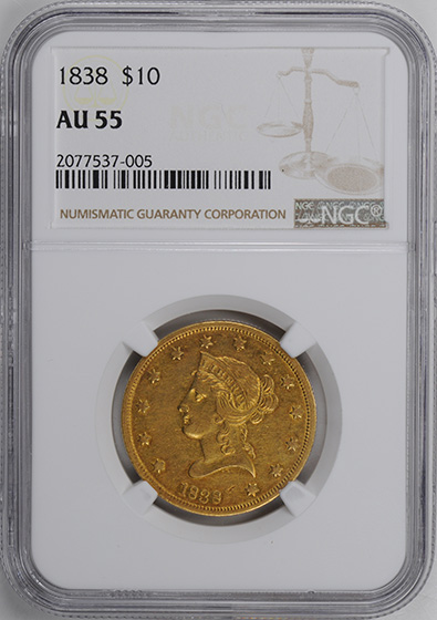 Picture of 1838 LIBERTY HEAD $10 AU55