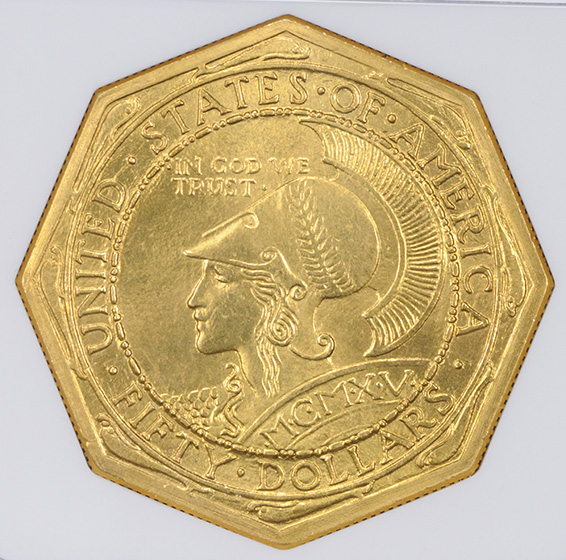 Picture of 1915-S GOLD $50, PAN-PAC OCTAGONAL MS65