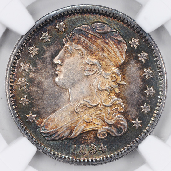 Picture of 1834 CAPPED BUST 25C MS66