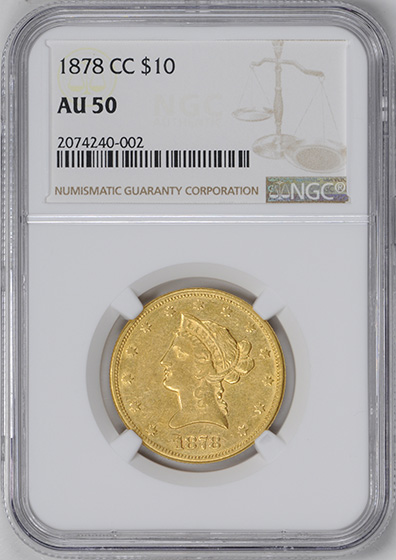 Picture of 1878-CC LIBERTY HEAD $10 AU50