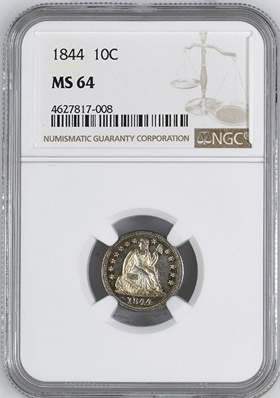 Picture of 1844 LIBERTY SEATED 10C MS64