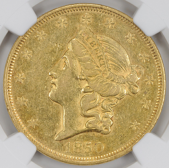 Picture of 1850 LIBERTY HEAD $20 AU55
