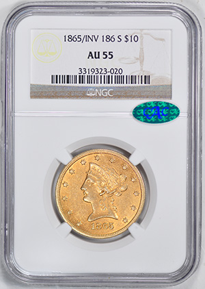 Picture of 1865-S LIBERTY $10, 865/INVERTED 186, NO MOTTO AU55