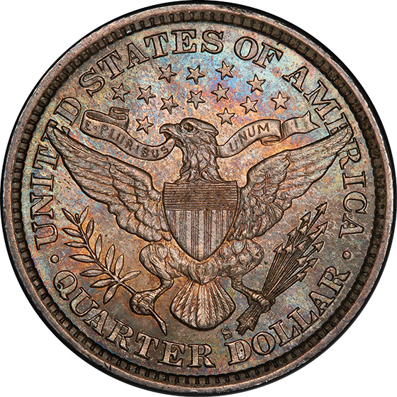 Picture of 1893-S BARBER 25C MS65