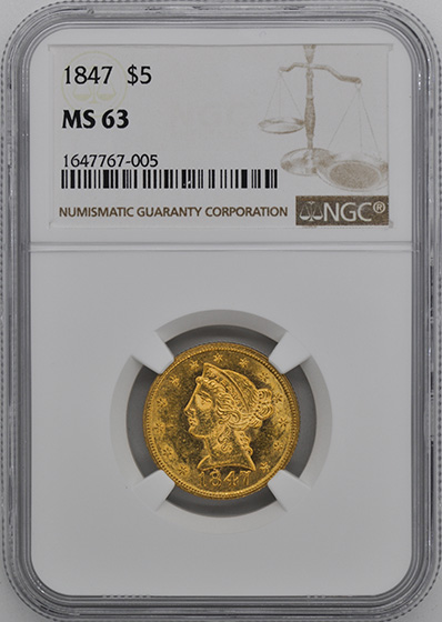 Picture of 1847 LIBERTY $5 MS63