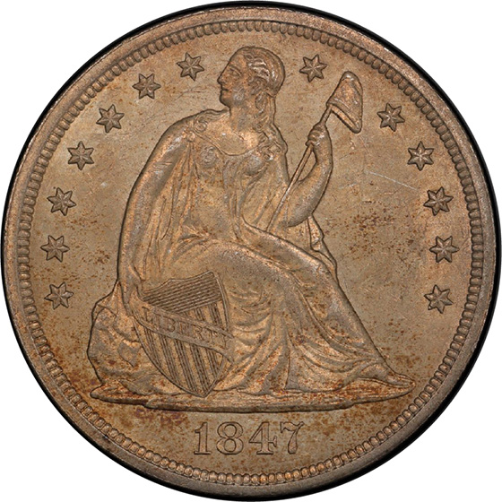 Picture of 1847 LIBERTY SEATED S$1, NO MOTTO MS63