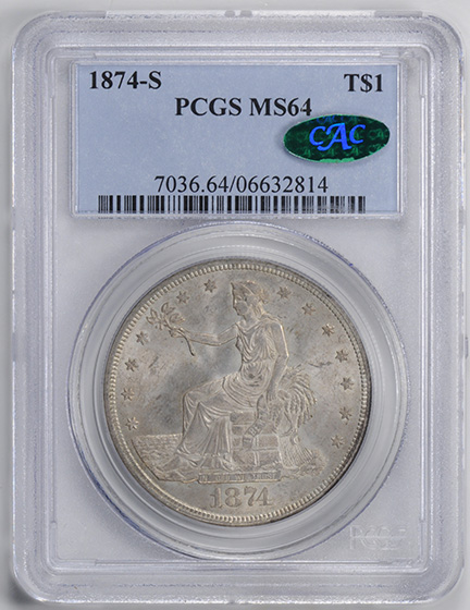 Picture of 1874-S TRADE T$1 MS64