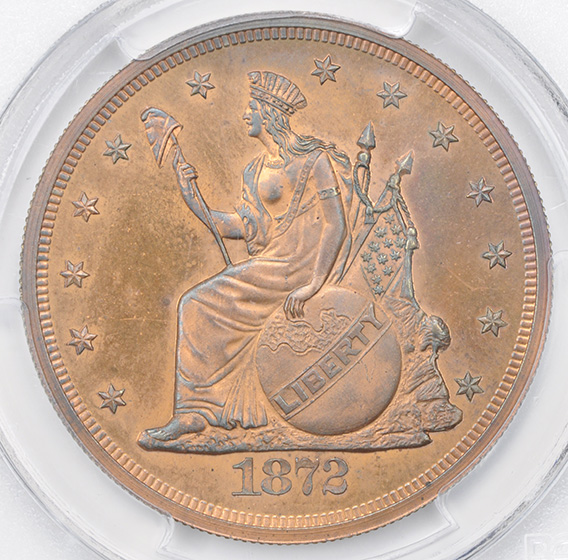 Picture of 1872 LONGACRE TRADE $1, J-1221 PR66 Red Brown