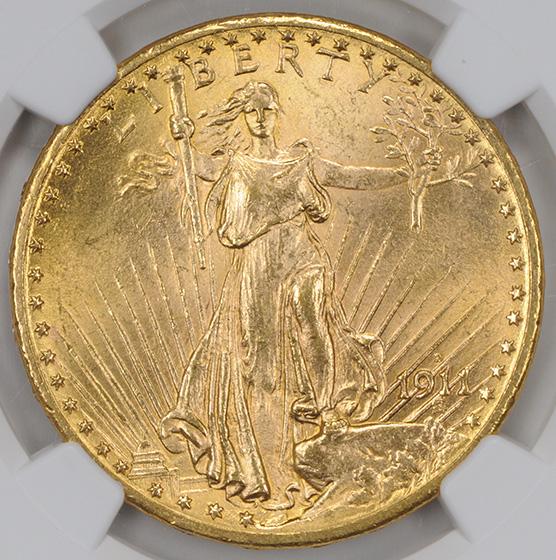 Picture of 1911-D/D ST. GAUDENS $20 MS65