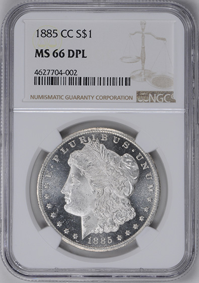 Picture of 1885-CC MORGAN S$1 MS66 DMPL