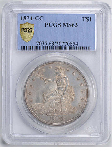 Picture of 1874-CC TRADE T$1 MS63