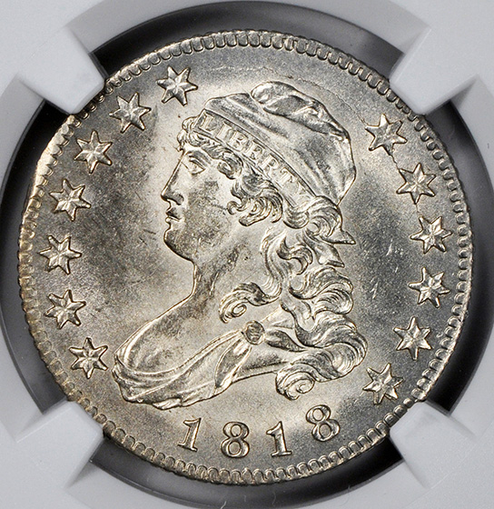 Picture of 1818 CAPPED BUST 25C, LARGE SIZE MS65