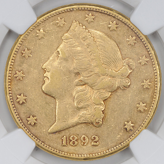 Picture of 1892-CC LIBERTY HEAD $20 AU50