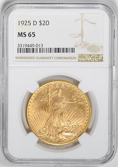 Picture of 1925-D ST. GAUDENS $20, MOTTO MS65