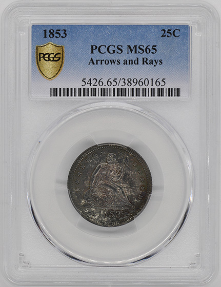 Picture of 1853 LIBERTY SEATED 25C, ARROWS AND RAYS MS65