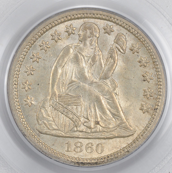 Picture of 1860-S LIBERTY SEATED 10C MS65