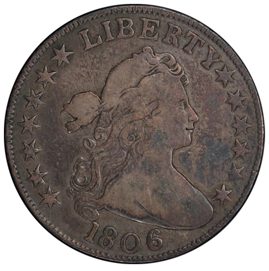 Picture of 1806 DRAPED BUST 50C, KNOB 6, NO STEM F12