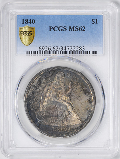 Picture of 1840 LIBERTY SEATED S$1, NO MOTTO MS62