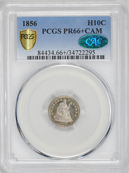 Picture of 1856 LIBERTY SEATED H10C PR66+ Cameo