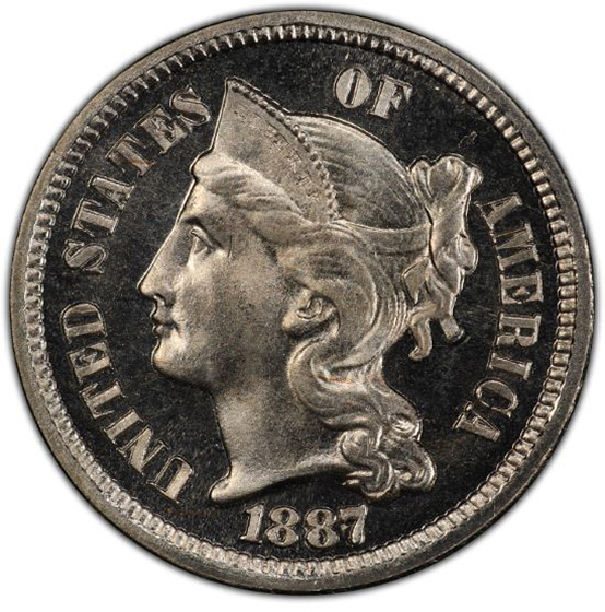 Picture of 1887/6 NICKEL 3CN, STRONG OVERDATE PR67 Cameo