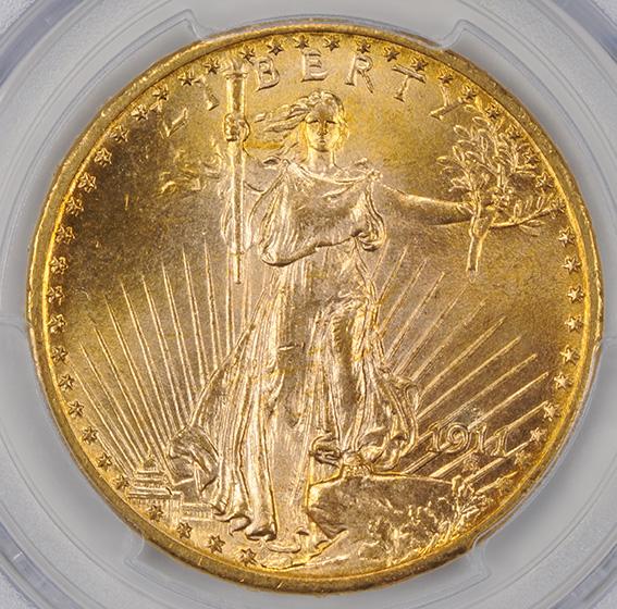 Picture of 1911-D/D ST. GAUDENS $20 MS66