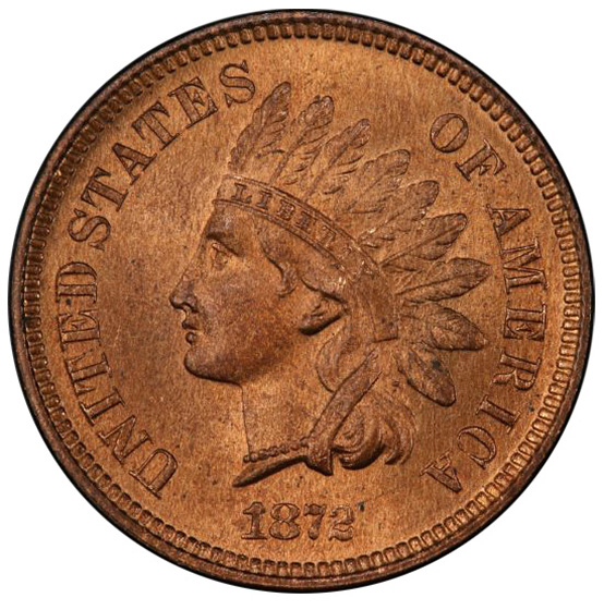 Picture of 1872 INDIAN BRONZE 1C MS65+ Red