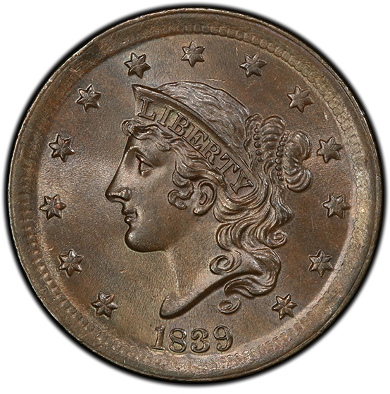 Picture of 1839 CORONET HEAD 1C, SILLY HEAD MS66 Brown