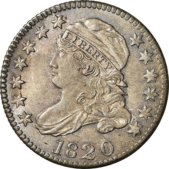Picture of 1820 CAPPED BUST 10C, SMALL 0 MS67