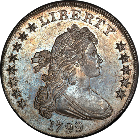 Picture of 1799 DRAPED BUST $1, OBVERSE STARS 8X5 MS64