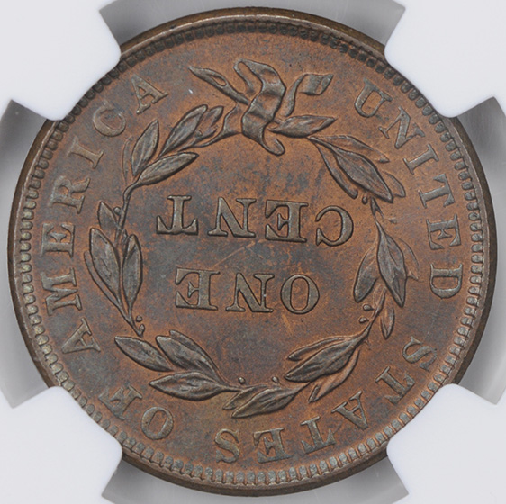 Picture of 1839 CORONET HEAD 1C, BOOBY HEAD MS65 Red Brown