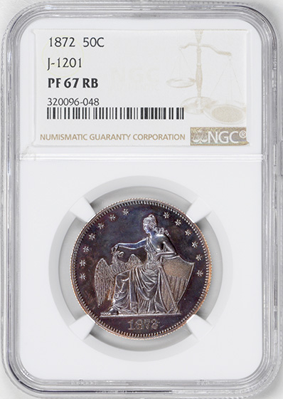 Picture of 1872 50C J-1201 PR67 Red Brown